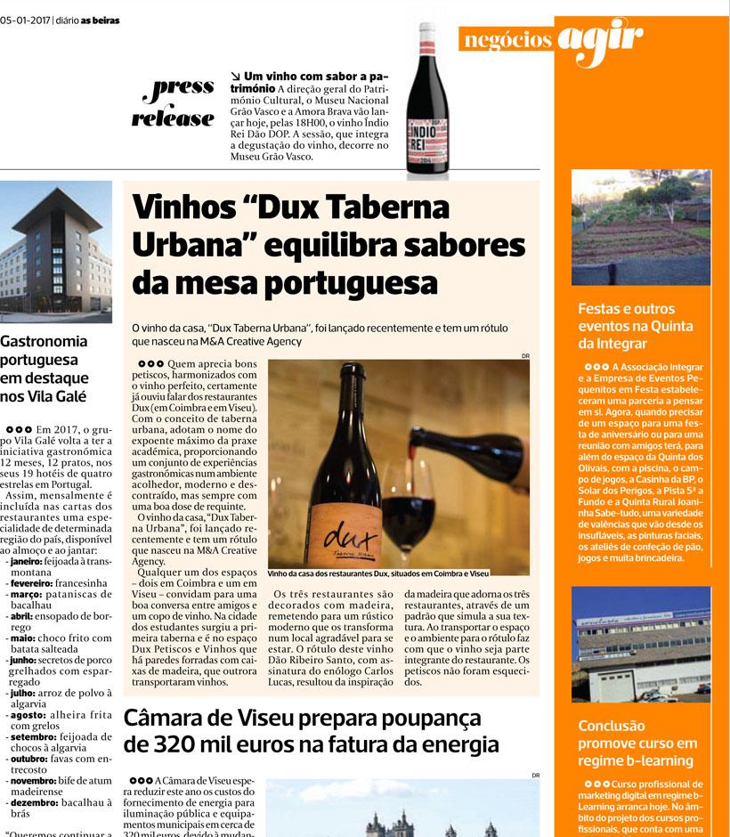 Vinho Dux Taberna Urbana equilibra sabores típicos da mesa portuguesa